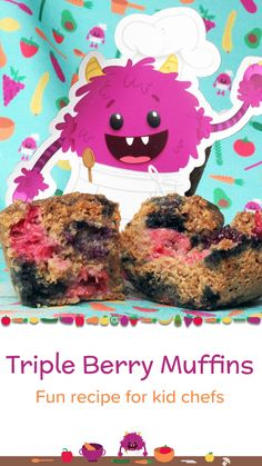 Fun recipe for kid chefs. Easy recipe for kids. Whole wheat muffins. Healthy Desserts For Kids, Healthy Summer Recipes, Easy Meals For Kids, Healthy Food Options, Healthy Recipe Videos, Healthy Cake, Kids Meals, Raspberry Muffins, Blue Berry Muffins