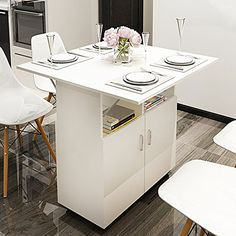DL furniture - Dinner Table Foldable Table Surface Multi Purpose Storage Home Kitchen Furniture Decor Set Lunch Desk Storage Rack - White Wood Tone Small Kitchen Tables, Table For Small Space, Modern Kitchen Cabinets, Small Dining, Dining Table In Kitchen, Kitchen Furniture, New Kitchen, Diy Furniture, Dining Tables