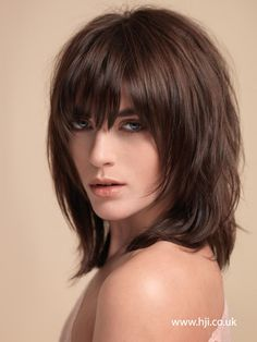 awesome 2015 dark brown layered shag hairstyle with full fringe - Hairstyle Gallery
