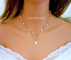 Wedding Necklace Pearl Rose Gold Y Bridal VINE LEAF BACKDROP image 4