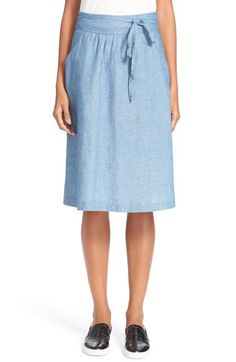 A.L.C. 'Bellona' Cotton & Linen Chambray Skirt available at #Nordstrom