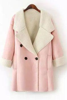Lamb Wool Double-Breasted Long Sleeve Trench Coat PINK: Jackets & Coats | ZAFUL