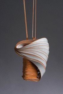 Paper jewelry by Lydia Hirte. I love the simplicity of the cording. Wonder what the closure looks like? Paper Jewelry, Paper Beads, Jewelry Art, Jewelry Design, Polymer Clay Art, Polymer Clay Jewelry, Paperclay, Schmuck Design, Contemporary Jewellery
