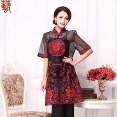 Fetching Embroidery Organza Chinese Blouse - Red - Chinese Shirts & Blouses - Women