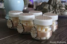 Fill jars with Jordan Almonds and decorate for some cute Christening favors Baptism Party Favors, Baby Shower Favours, Christening Favors, Baby Shower Themes, Shower Ideas, Jordan Almonds, Baby Dedication, Guest Gifts, Baby Accessories