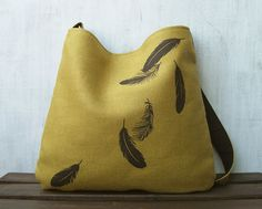 Hemp Messenger Bag - Falling Feathers - Screenprint - Honey Mustard on Etsy, $65.00