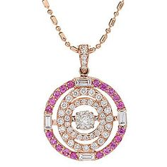 Beverly Hills Elegance® 14K Rose Gold Diamond & Pink Sapphire Moving Heartbeat Pendant