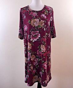 Tacera Womens Maroon 3/4 Sleeve Floral Dress Size XL NWT #tacera #casual #floral #dress #maroon #ebay #fashion #women