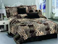 7 Pc Multi Animal Print Black Brown Tan and Charcoal Grey Microfur Comforter Set King Size Comforter Set * Check out the image by visiting the link.