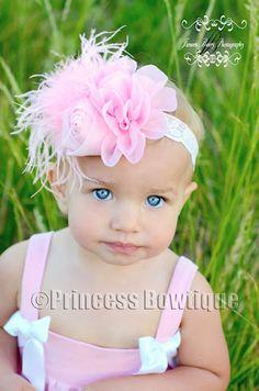 A Pure Pink Vintage Chiffon Flower Baby Headband: Buy Baby Headbands & Hair Bows at Princess Bowtique