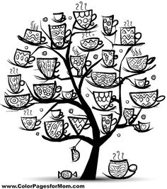 This is pretty whimsical. I have never seen a cup tree but would love to color one!