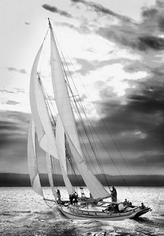 """boatporn: """"47burlm: """" Got out of town on a boat goin' to Southern Islands Sailing a reach before a followin' sea She was makin' for the trades on the outside And the downhill run to Papeete Off the wind on this heading lie the Marquesas We got..."""