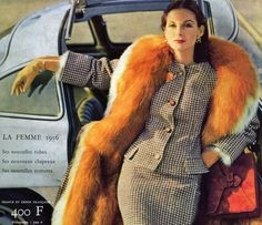 Retro style suit, fur and car.