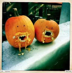 """Marli Guzzetta made these whilst consuming """"adult beverages"""". Halloween Outside, Halloween Stuff, Holidays Halloween, Spooky Halloween, Halloween Pumpkins, Happy Halloween, Halloween Party, Easy Pumpkin Carving, Pumpkin Carving Templates"""