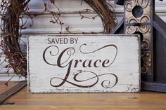 Grace Wood Sign Saved by Grace Wooden Sign by TinSheepShop on Etsy