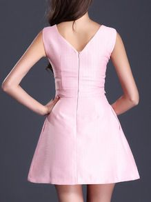 Pink Round Neck Sleeveless Backless Flare Dress -SheIn(Sheinside)