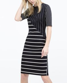 STRIPED PATCHWORK TUBE DRESS-View all-Dresses-WOMAN | ZARA United States