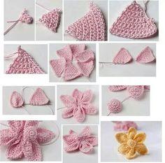 Good pattern for crochet flowers Crochet World, Crochet Art, Crochet Flowers, Crochet Stitches, Crochet Projects, Sewing Projects, Diy Projects, Pinterest Crochet, Groomsmen