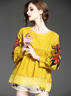 Cute Oversize Puff Sleeve Goldfish Embroidery Blouse