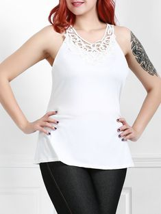 1b68ce9208d Plus Size Stylish Round Neck Sleeveless Solid Color Hollow Out Tank Top For  Women Trendy Tops