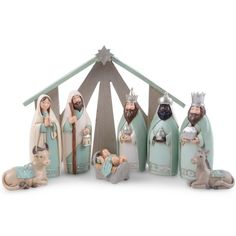Nine Piece Christmas Nativity Set in Green Coloured Finish