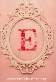 Button Letter- want to do this framed in middle of a wall pic collage!