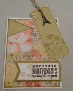 Inspired by a card created by Doreen Watkins, this card has a hidden bookmark!  It features Ariana B&T paper, Cricut Artiste Collection- Birthday stamp set, Cocoa and Desert Sand exclusive inks stamp pads, Base & Bling Faux Antiqued Gold charm and White Daisy cardstock.  Created by Denise Tarlinton www.ScrapStampShare.ctmh.com.au
