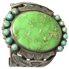 Vintage Navajo Sterling Green Turquoise Cuff | From a unique collection of vintage Cuff Bracelets at https://www.1stdibs.com/jewelry/bracelets/cuff-bracelets/.
