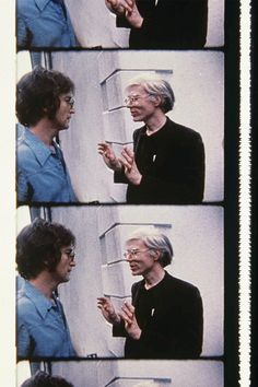 John Lennon & Andy Warhol at a party, photographed by Deborah Colton, 1971. #Andy Warhol #celebrity