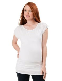 A Pea in the Pod Collection: Short Sleeve Boat Neck Side Ruched Maternity T Shirt A Pea in the Pod. $39.99