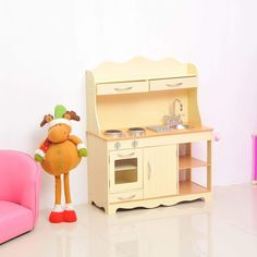 Wooden Kids Kitchen Play Set Cooking Toys Sink Tap Oven Stove Drawers Cupboard #WoodenKidsKitchenPlaySet