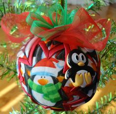 LIttle Penguin Quilted Star Christmas Ornament
