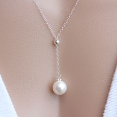 PEARL Necklace Sterling Silver Dangling pearl Necklace