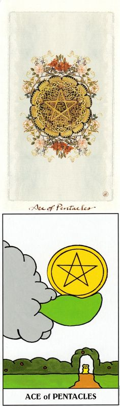 Ace of Pentacles: new opportunity for material gain and lost opportunity (reverse). Pagan Otherworlds Tarot deck and Gummy Tarot deck: how to do a tarot card reading, one question tarot vs free web tarot. Best 2017 tarot altar and tarot bag pattern. #wands #tarotcards #divination #tarotmeanings #howtoreadtarotcards