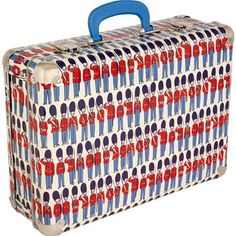 Stand out from the crowd with our cheerful Guards print suitcase.  Just the right size for summer trips and weekends away, kids will be the setting the trend with this quirky little number!  With easy to carry handle and protective metal edging to protect against knocks. Also available in our classic Royal Rose print.