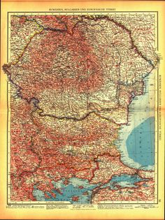 Map of Great Romania published in Andrees Handatlas Leipzig, 1937 (MNIR). Historical Maps, Lamb, Bohemian Rug, Vintage World Maps, Film, Country, Grey, Romania, Geography