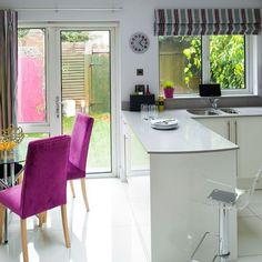 White lacquered kitchen-diner | Modern kitchen ideas | Ideal Home