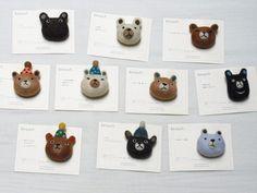 くまブローチby ヒツジフエルト縮絨室 [ Bear Brooch by Felt Fulling Lab]
