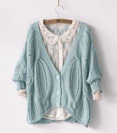 Vintage Bat Sleeve knit &Cardigan With Twist Crochet