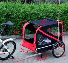 Amazon.com: Frugah Large Portable Pet Dog Bicycle Bike Trailer Folding Carrier Red Black: Pet Supplies