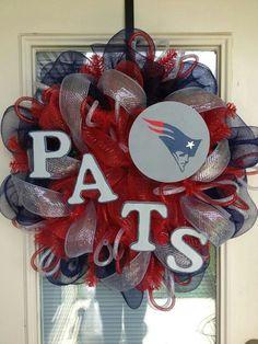 New England Patriots Wreath - Door Wreath - NFL. $80.00, via Etsy.