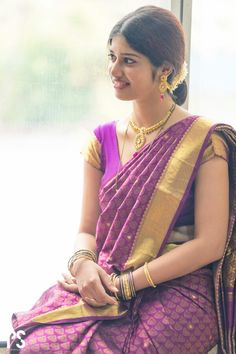 Silk saree South Indian Silk Saree, South Indian Bride, Indian Bridal, Indian Look, Indian Wear, Bridal Makeover, Kanchipuram Saree, Traditional Sarees, Half Saree