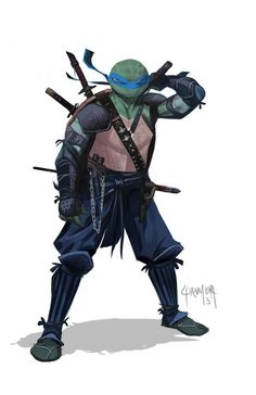 Teenage Mutant Ninja Turtles with more traditional samurai armor