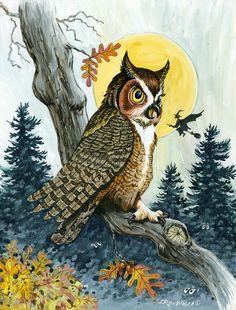 Hooty-Hoot by Richard De Wolfe ~ owl ~ flying witch ~ Halloween Illustration Art Drawing, Halloween Illustration, Illustrations, Owl Artwork, Owl Wall Art, Owl Wallpaper Iphone, Halloween Painting, Halloween Art, Art Drawings Beautiful