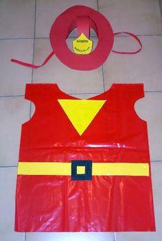 Disfraz de Bombero reciclado Diy Carnival, School Carnival, Carnival Costumes, Diy Costumes, Fireman Costume, Fireman Party, Carnaval Kids, Diy For Kids, Crafts For Kids