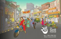 Created for The Saree Festival 2015.  illustration & Design by DeepikahCo  #Market #India #Delhi #Wedding #Saree #Women #GirlPower #Shopping #Chaos