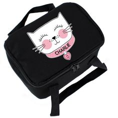 Personalised Black Lunch Bag - Cat Face