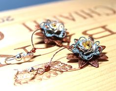 Copper Flower and Filigree Dangle Earrings by BeJeweledNH on Etsy, $26.00