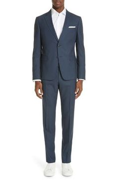 Crisp wool construction defines a charming suit featuring flat-front trousers paired with a two-button, notched-lapel jacket. Style Name:Z Zegna Trim Fit Solid Wool Travel Suit. Style Number: 5687539. Available in stores. Skinny Fit Suits, Skinny Fit Jeans, Jordan Black Cat, African Dashiki Dress, Mens Fashion Suits, Men's Fashion, Houndstooth Jacket, Double Breasted Trench Coat, Online Shopping Stores