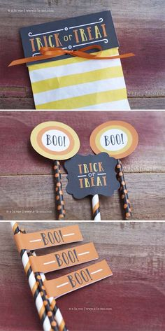 Free Trick or Treat Halloween Printables- Treat bag toppers, stickers, cupcakes toppers, straw flags Halloween 2016, Halloween Party Decor, Holidays Halloween, Spooky Treats, Halloween Treats, Halloween Traditions, Party Labels, Halloween Baking, Bag Toppers